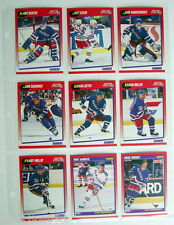 1991'S LOT OF 9 HOCKEY CARDS NY RANGERS + 1 PLASTIC SHEET FOR COLLECTORS ALBUM