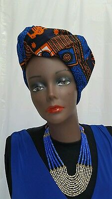 Trendy African Wax Head Tie/ Wrap/Scarf. 44''X34'', Multicolor, 100% Cotton.