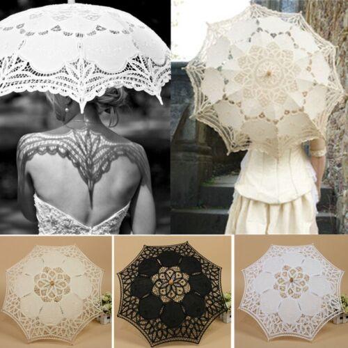 Vintage Handmade Cotton Parasol Lace Umbrella Party Wedding Bridal Decoration !