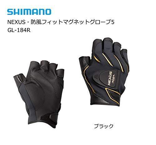 SHIMANO NEXUS Windproof Fishing Glove 5 Cut Finger GL-184R BLACK Japan NEW