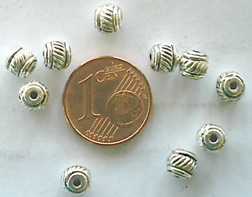 MA128 PERLES RONDES métal argenté striées 5,5mm par 20pcs ou 200 pcs