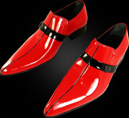 a Rojo italiano Lado Diseñador de piel Chelsy becerro Zapatilla mano de RHF8FwqxP