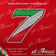 Adesivo Stickers NUMERO 7 moto auto cross gara Carbon Effect Tricolore Ita 5 cm