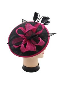7216d0f2c Details about Large Headband and Clip Hat Black Fuschia Fascinator Weddings  Race Royal Ascot
