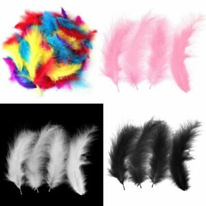 200X-Fluffy-Marabou-Feathers-Card-Making-Crafts-Embellishments-Trimming-10-15cm