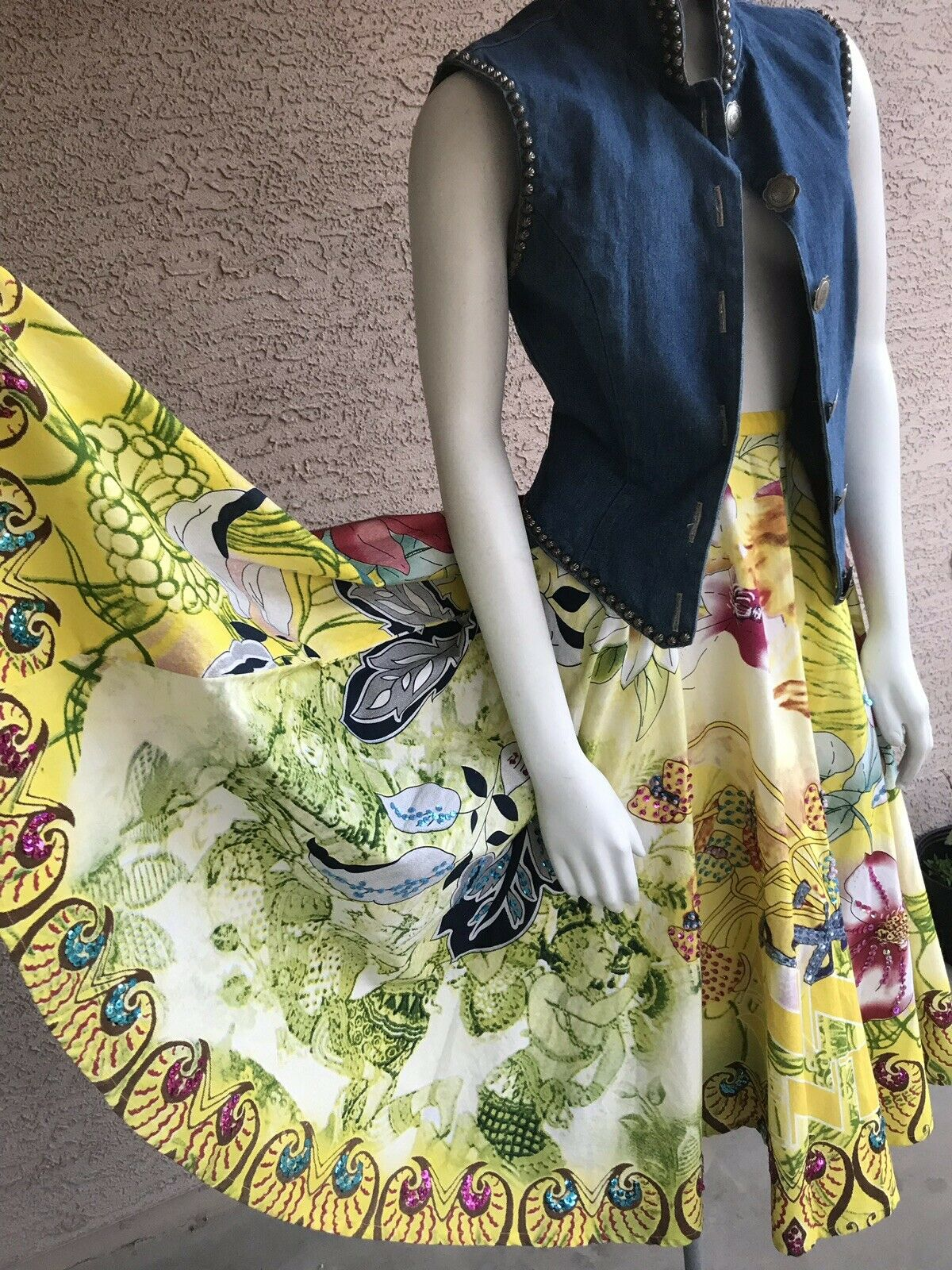Vtg 50s 60s Stil Circle Rock Floral Swing Square Dance 3d Sequin beads ARTSY