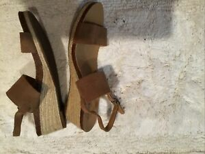 Lucky Brand Women's Size 8M/38 Jette Espadrille Wedge Brown Tan Suede Sandals