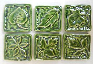 Leaf Mosaic Tiles, Handmade Ceramic Leaf Craft Tiles, Holly Green,  Set of 6