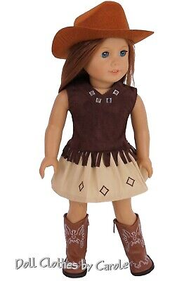 Brown Western Cowgirl Cowboy Top Skirt Hat Boots fit American Girl Size Doll