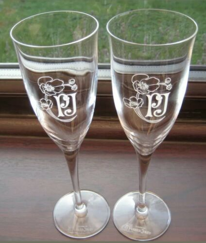 2 x Rare Perrier Jouet Belle Epoque Champagne Flutes Brand New CE Bar Gift