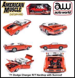 Auto World Nueva Colección'71 Dodge Cochegador R T Auto diecast escala 1 18 Hardtop