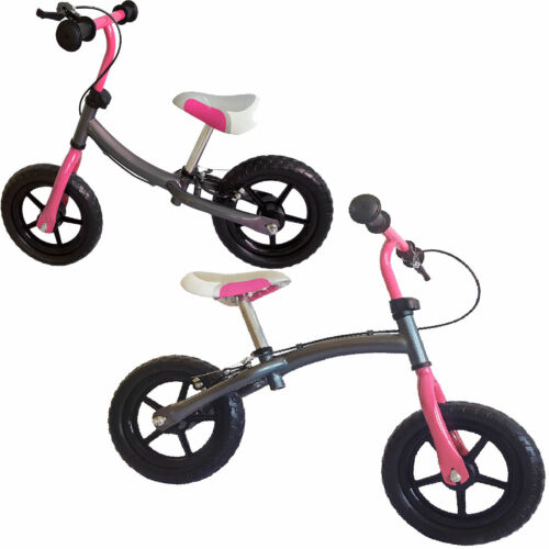 "Laufrad ca. 30,3cm 12"" silbergrau-pink Doppelfunktionsrahmen Handbremse Kinder"