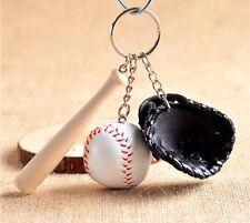 Baseball Bat, Ball, & Black Mitt Keychain US Seller