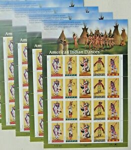 Four x 20 = 80 of AMERICAN INDIAN DANCES 32¢ US PS Postage Stamps Sc # 3072-3076