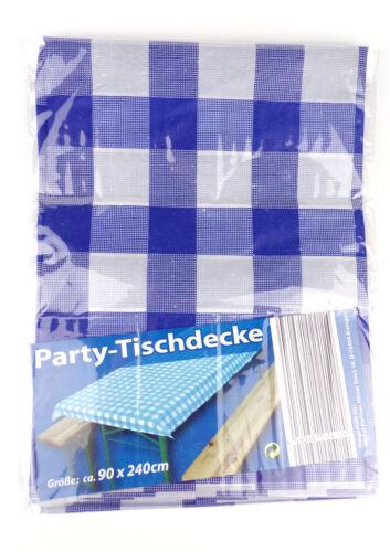 10 x Party Tischdecke 90 x 240 cm PVC abwischbar dünn blau weiß Biertisch