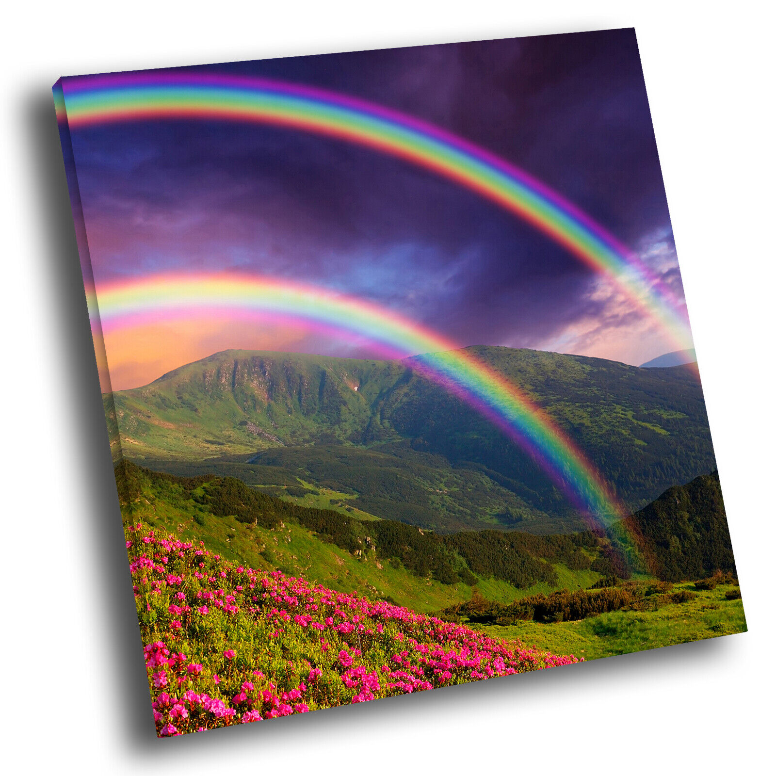 Colourful Rainbow Hill Cool Square Scenic Canvas Wall Art Large Picture Print