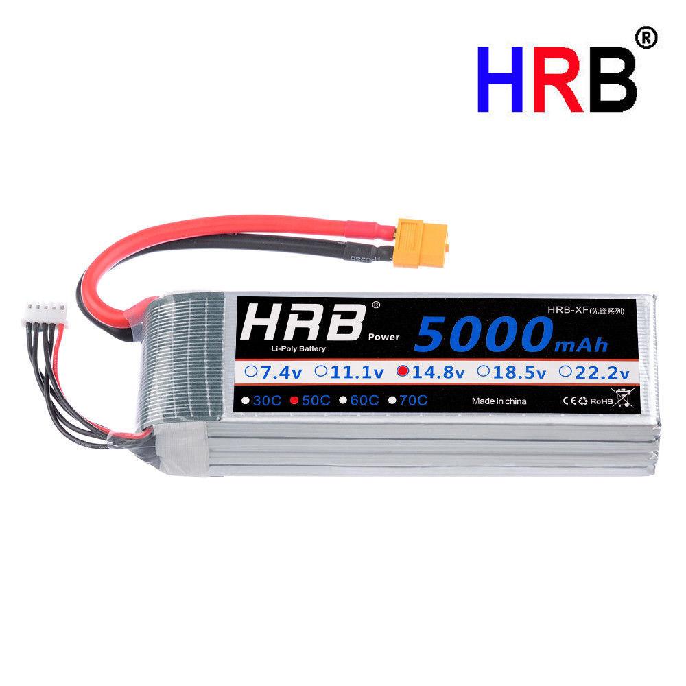 HRB 14.8V 4S 5000mAh Lipo Batería 50C-100C XT60 Enchufe Para Radio Control Heli Coche Barco Quad