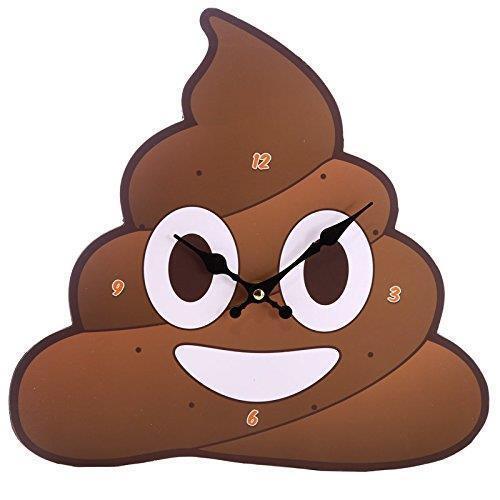 Poop Clock Emotive Poo Shaped Wall Clock Novelty Fun Gift Present Joke Emoji