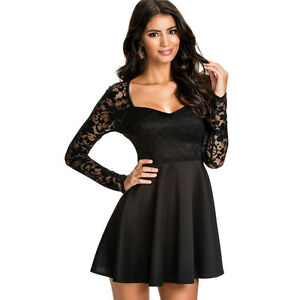 Image is loading Suzanjas-Cocktail-Dress-with-Lace-Top-in-Black- 22a49e7ea