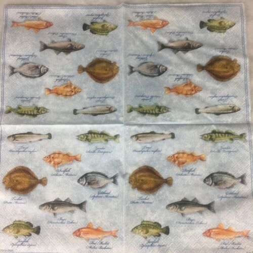 4x Paper Party Napkins For Decoupage Fish Trout Fishes Variety Napkin Art