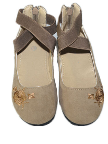 New Kids Girl/'s Mary Jane Casual Ballet Flats  Back Zipper Ankle Strap Shoes