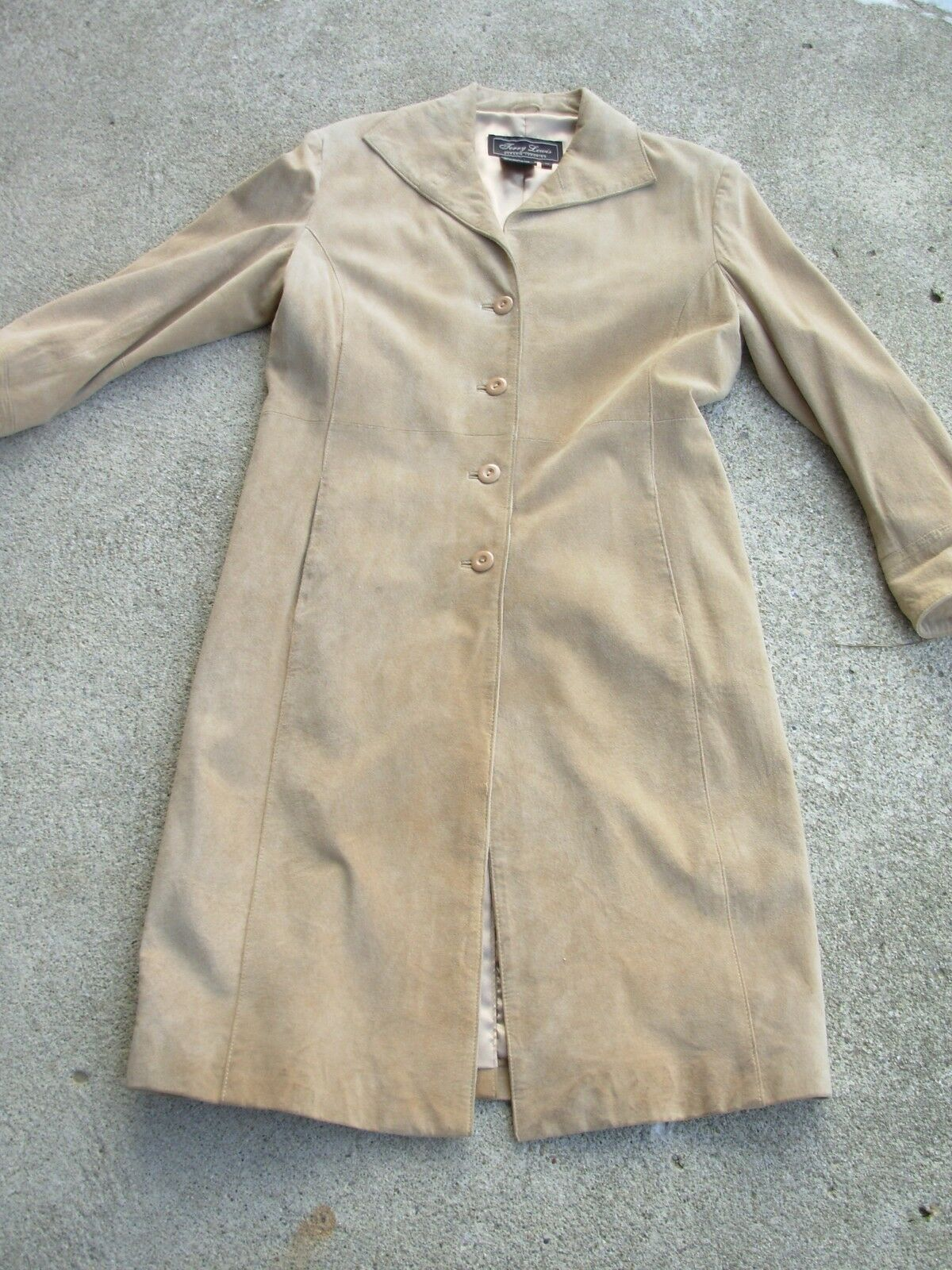 Terry Lewis Long Suede Leather Women's Coat size  XS