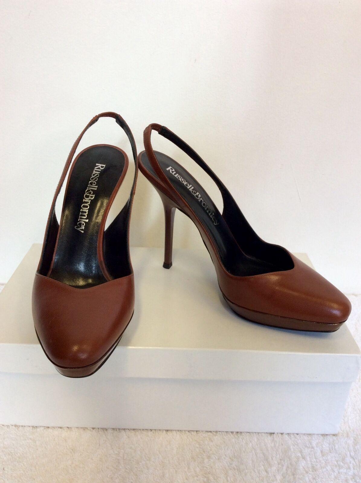 Nuovo di Zecca Russell pelle & Bromley chestnut marrone pelle Russell aperti sul retro tacchi taglia 3.5/36 146b87