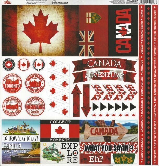 REM - Canada 12x12 Scrapbooking STICKERS - Cardstock Flag ...