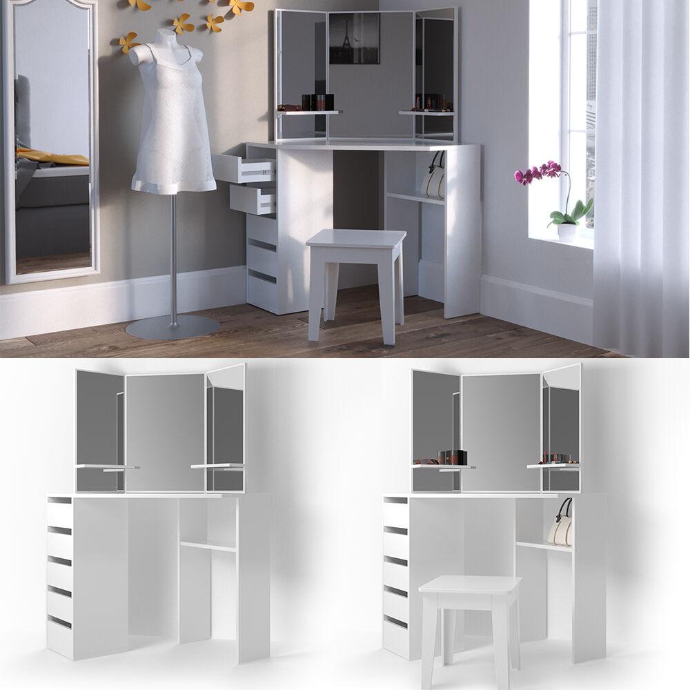 s l1600 - Tocador mesa de tocador mesa de maquillaje mueble belleza espejo Arielle blanco