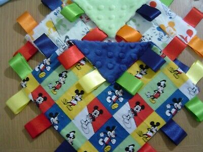 Mickey Mouse Taggy Blankets 20cm square Various Colours and Styles