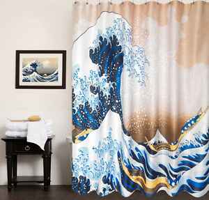 Image Is Loading 100 Polyester Fabric Shower Curtain Hokusai The Great