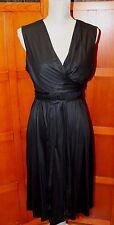 Diane von Furstenberg DVF Deka Black Modal Sleeveless Wrap Dress L Large