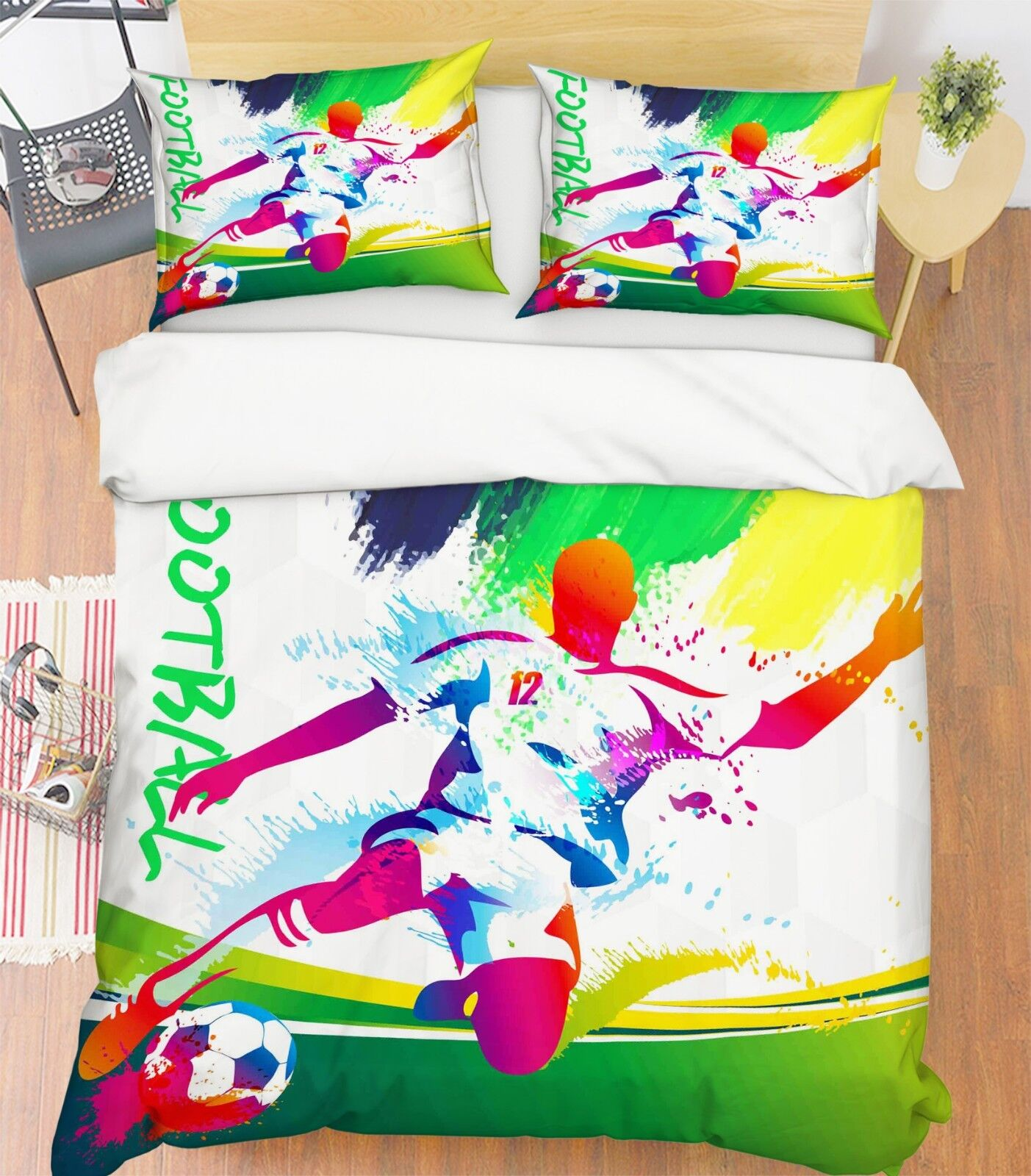 Porta DA CALCIO 3d 230 Federe Letto steppe duvet set soffitto single regina de