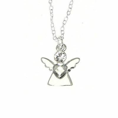 Silberfarben Schutzengel Anhänger Halskette Mit Kristall Effekt Herz Anhänger Ein Unbestimmt Neues Erscheinungsbild GewäHrleisten