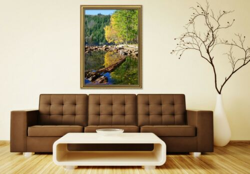 3D Lakeside Trees View 2 Framed Poster Home Decor Print Painting Art WALLPAPER
