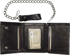 Men's Accessories Black Men's Genuine Leather Trifold Wallet with Chain Biker Trucker Motorcycle
