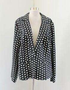Lane Bryant Heather Charcoal Gray White Polka Dot Knit Blazer Jacket Size 24