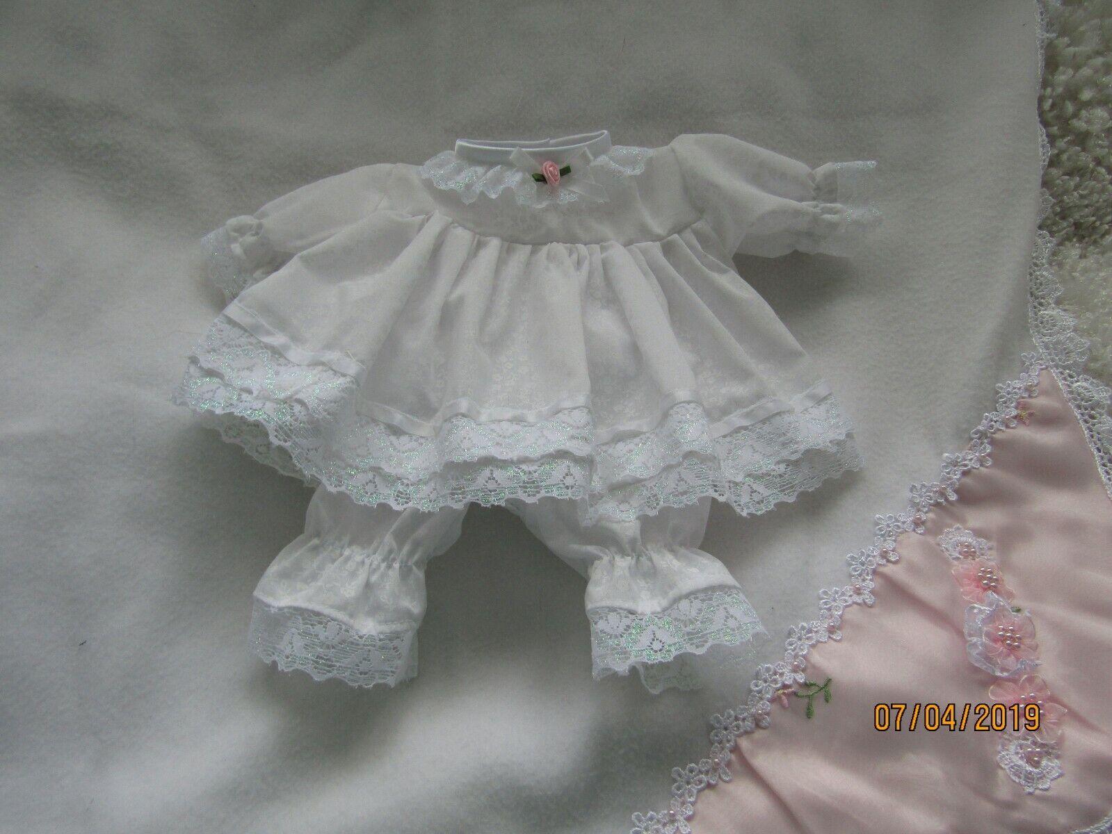Handmade Prem baby Two piece Dress set Size 3-7 Lbs White Fluer polycotton