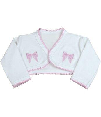 PEX BABY GIRLS  BOLERO CARDIGAN STYLE SHEBA WHITE OR PINK SIZES 0//3 3//6 6//9 9//12