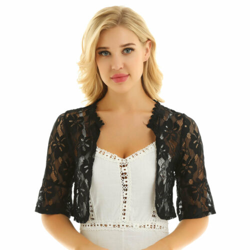 Women Half Sleeve Cardigan Bolero Shrug Lace Open Front Jacket Shawl Cropped Top
