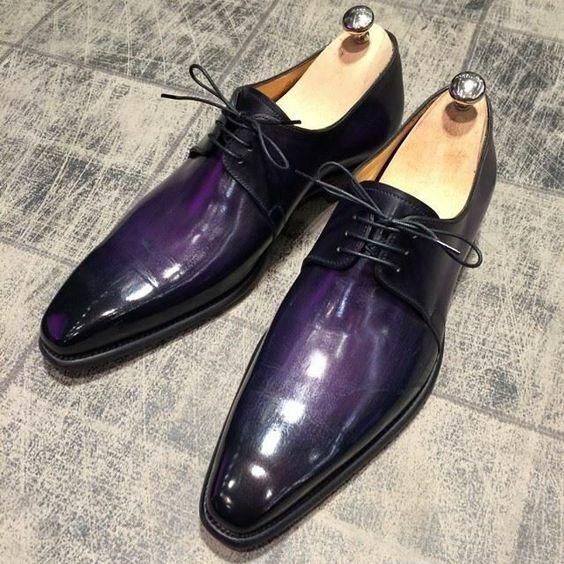Handmade Leder Herren Lila Patina Schnürschuhe Oxford Schuhe Maßgefertigt