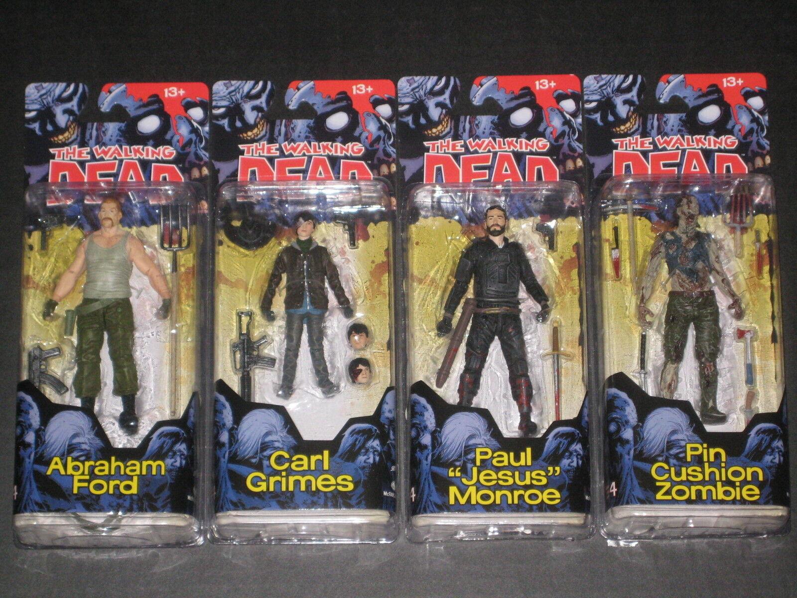 Walking Dead Serie 4 Comic Figuras Cochel Abraham Jesús Pin Zombie MCFARLANE Nuevo