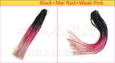 "20"" Soft Dreadlocks Twist Braids Crochet Synthetic Hair Extensions Ombre 100g"