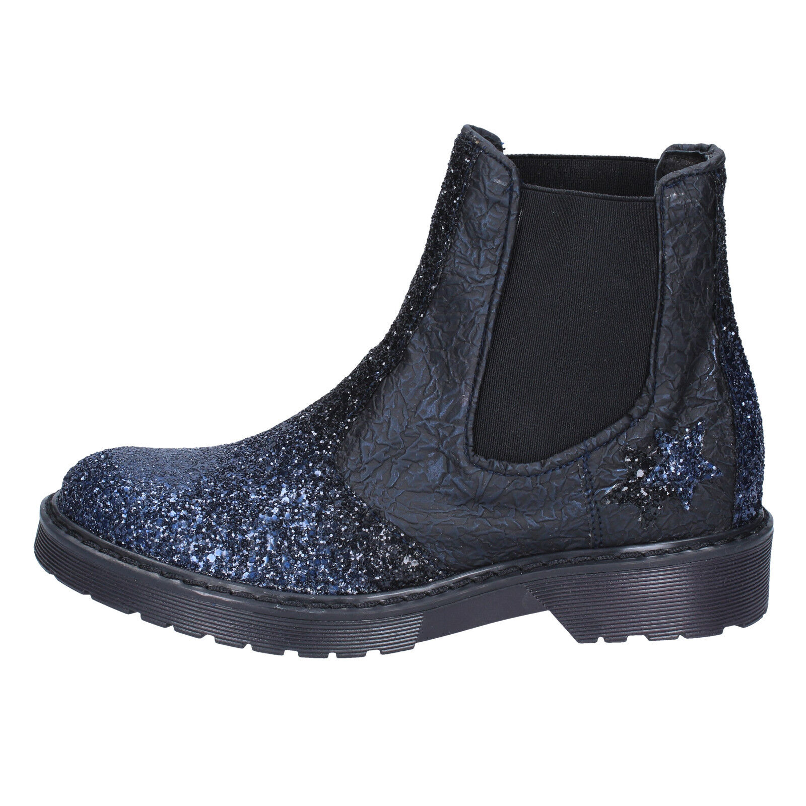 womens shoes 2 STAR 6 () ankle boots blue leather black leather blue glitter BX375-39 fa4db7