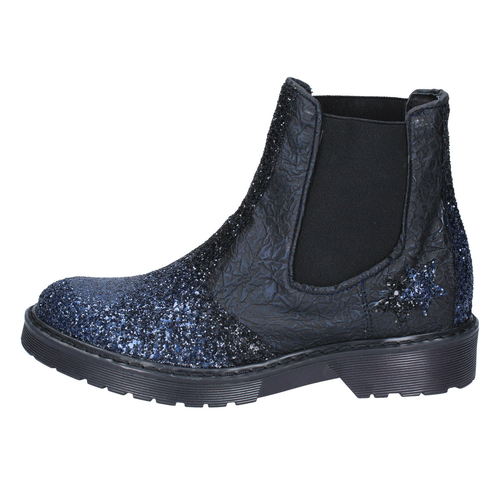 Damenschuhe schuhe 2 STAR 4 Blau (EU 37) ankle Stiefel Blau 4 schwarz Leder glitter BX375-37 c39391