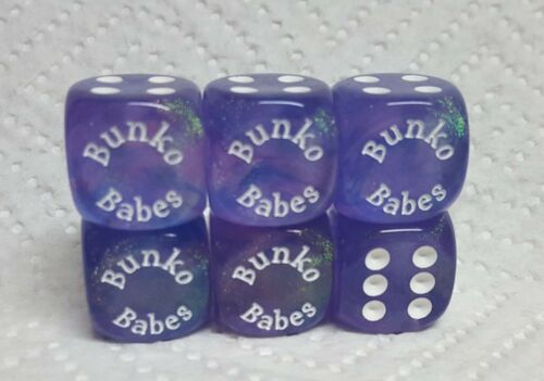 "/""Bunko Babes/"" 20/% off! *Six* 16mm Chessex Borealis Purple w//white Sparkly"