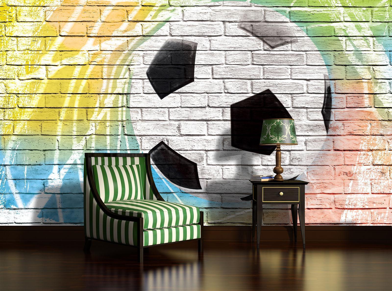 Vließ Fototapete Tapete Wandbild Photo Wallpaper Mural Graffiti - Fußball auf Zi