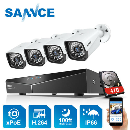 SANNCE 1080P POE IP66 Überwachungskamera 4CH NVR IP Videoüberwachung Fernzugriff