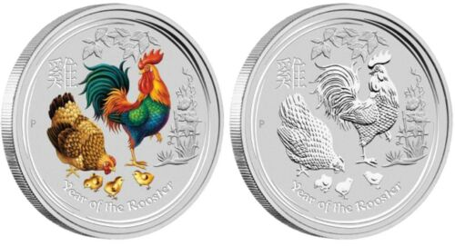 Australia 2017 Year of Rooster Lunar 1 Oz 4 Coin Type Set $1 Silver Dollars