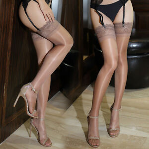 Women Ultra Slim Shiny Sheer Lace Top Thigh-Highs Silk Skinny Stockings Hold Ups